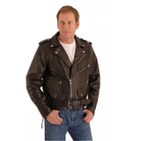 Classic Brando biker leather jacket in natural waxy cowhide.113
