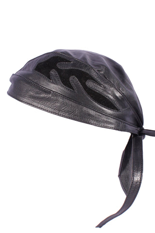 Biker Leather Bandanna With Flame AC01
