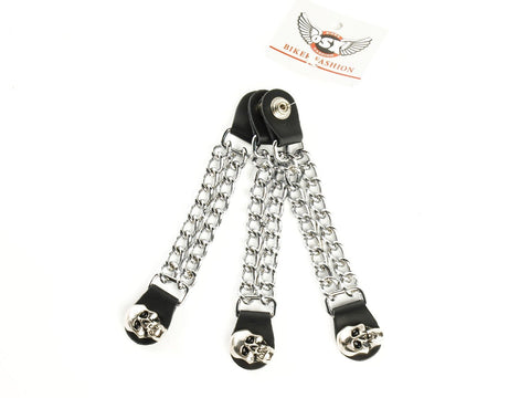 Chopper Bike Link Chain Vest Extender With Skull Press Stud AC8182K