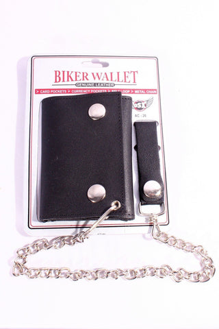 Cowhide Leather Biker Chain Wallet Small AC26