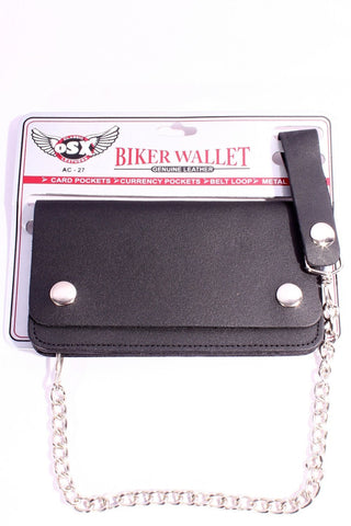 Cowhide Leather Biker Chain Wallet Medium Ac27