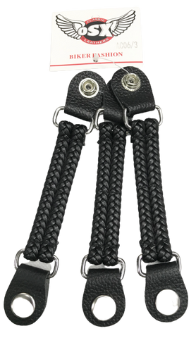 Vest extender Chopper Braided Leather Bike Chain Vest Extender With  Steel Press Stud Ac 06