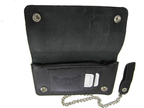 Cowhide Leather Biker Chain Wallet Large Ac28
