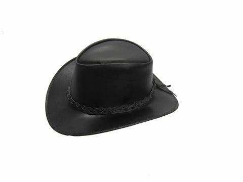Leather Cowboy Western Aussie Style Bush Hat Brown and Black Wide Brim S-XXL Men