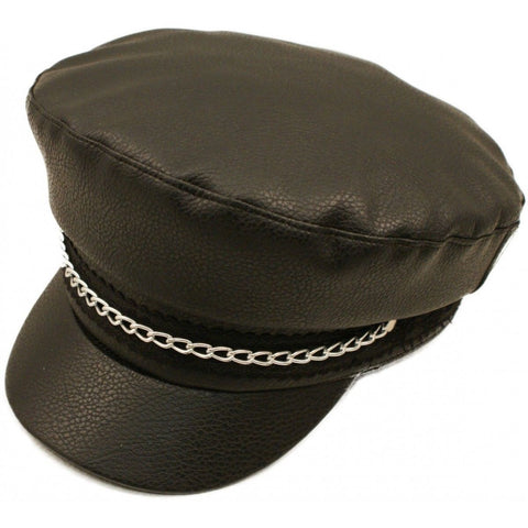LEATHER HAT CAP UNISEX WITH CAHIN PEACK  AC76