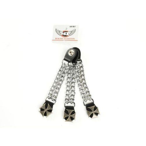 Chopper Bike Link Chain Vest Extender With Iron Cross Press Stud AC8182T