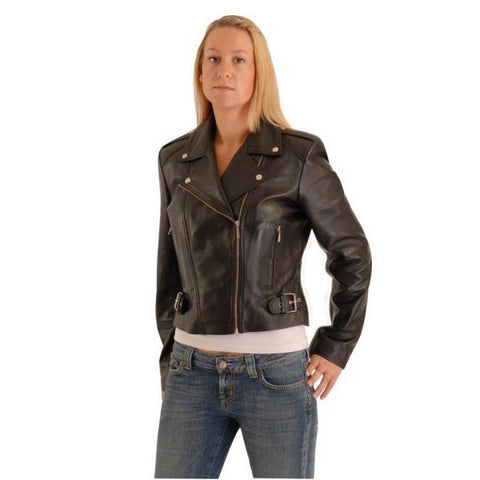 Classic Short Ladies Biker Leather Jacket Aprilia S082