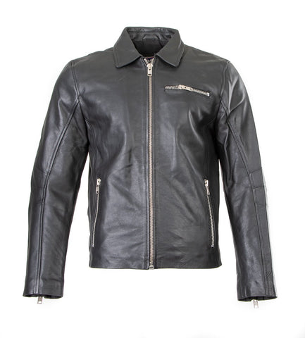 Classic Biker style Jacket in Cowhide Leather Zip Pockets - Bermoda