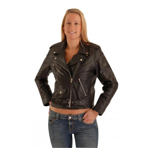 Brando Biker cowhide Leather Jacket (Perfecto) in women's fit.113L
