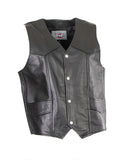 MOTORCYCLE PLAIN COWHIDE WAXY LEATHER WAISTCOAT-LEVIS 201