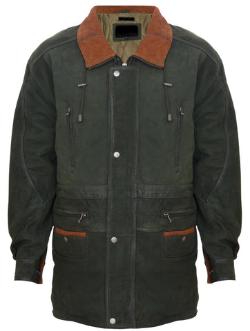 Men's Green Cow Hide Nubuck Suede Leather Jacket Parka