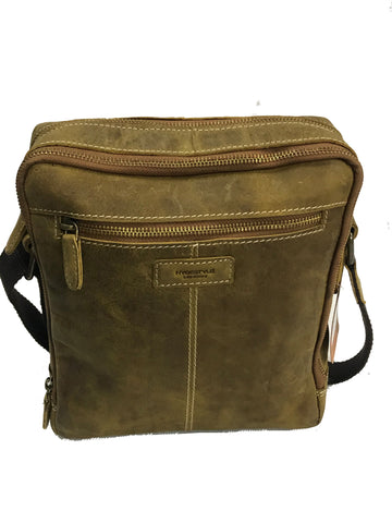 Tan Distressed Leather Men, Messenger Laptop Tablet Bag MB4972/3