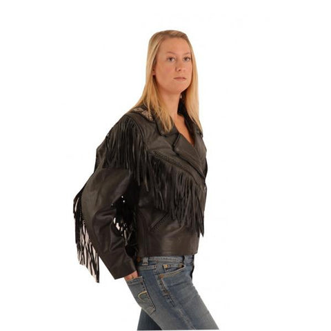 Westertn style Fringe jacket with leather Jakets Cindy 120