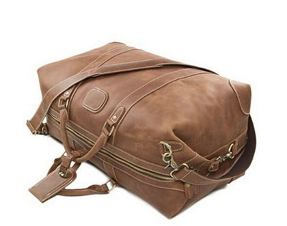 Light Brown Travel Holdall Duffle Weekend Leather Bag