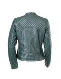 LADIES SHORT LEATHER JACKET GREEN SHEEP NAPPA S003