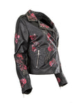 Ladies Leather Jacket Sheep Nappa with Chrome Studs Flowery