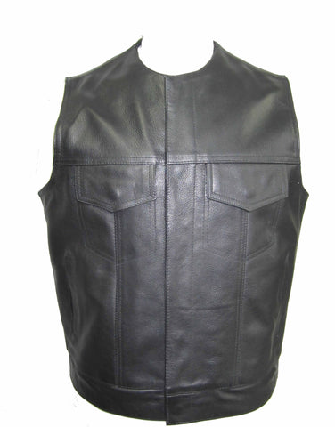 Levi Vest in Cowhide Leather  Collarless Cut-Off Motorcycle Waistcoat - Cassidy 255