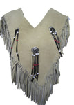 Poncho Indian Western Fringe Beaded  Leather 147
