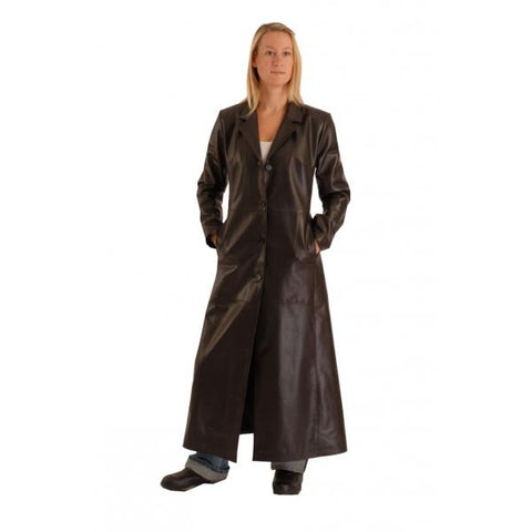 Full Length Classic Leather Long Coat Patsy Coat S061 -L
