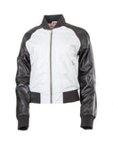 Classic Womens Bomber College Biker Leather Jacket Greece S005