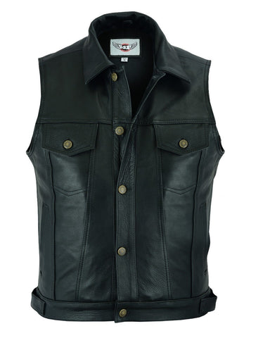 Biker Cut-off Levi Style Trucker Vest in Black Natural Cowhide Leather - LEE 254
