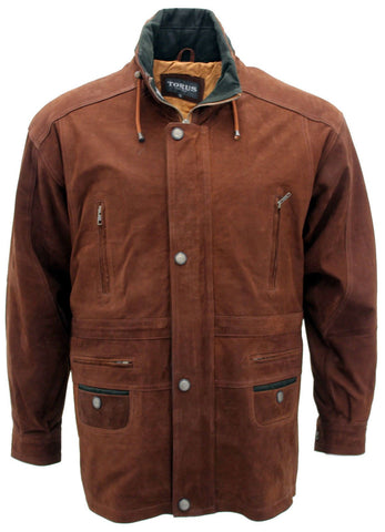 Men's Rust Tan Cow Hide Nubuck Suede Leather Jacket Parka