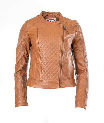 LADIES SHORT LEATHER JACKET TAN SHEEP NAPPA S003