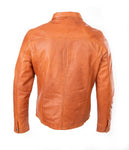 NEW Mens Leather Shirt Genuine Lambskin Slim Fit Stylish Biker Tan Soft Jacket