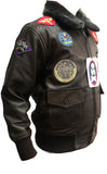 Kids Pilot Aviator Bomber Leather Jacket In Sheep Nappa K100