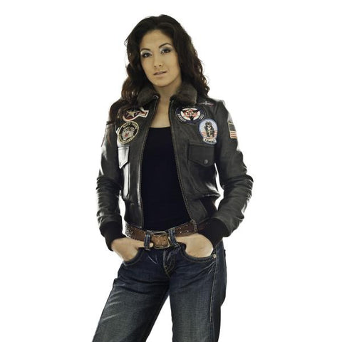 Top Gun Flying  Vintage flight Women Leather jacket in ladies fit 1106