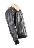Pilot Bomber Fling Leather Jacket With fur Collar 158