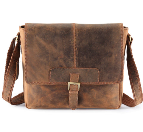 Distressed Cow Hide Leather Bag Men,Half Flap Messenger/Laptop bags UM02