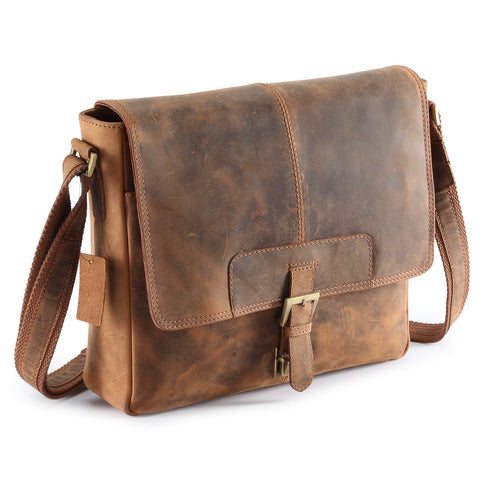 Distressed COW Hide Leather Bags Men,Half Flap Messenger / Laptop bags UM03