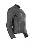 Cruiser motorcycle jacket for women in strong goat skin 1163