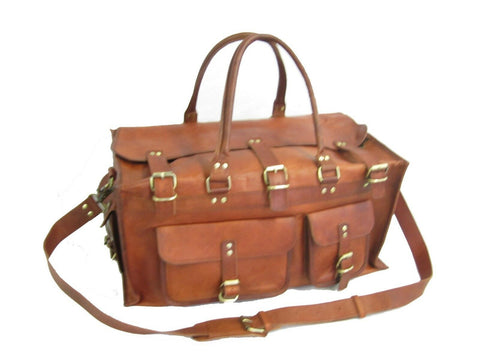 Hand made Premium Oild WaxTan Leather Holdall Duffle Weekend Cabin Bag VE0015