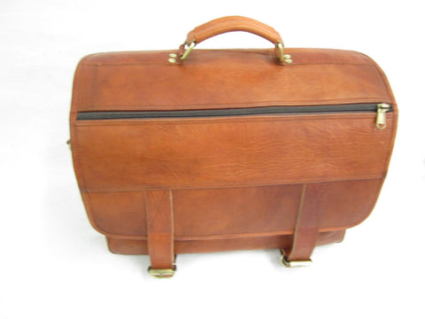 Briefcase Messenger Vintage Bag Real Goat Oiled Leather Distressed Tan VE0024