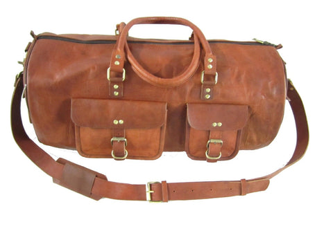 Hand made Premium Oild WaxTan Leather Holdall Duffle Weekend Cabin Bag VE0027