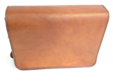 Large Olid Wax Tan Leather Messenger Laptop Bag from Vintage VE0044