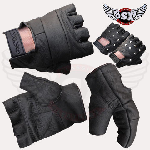 Leather Plain fingerles Glove Panther AC07