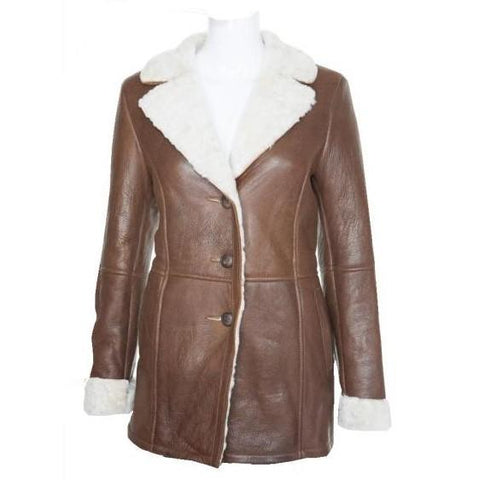 Retro 60's (3/4 length knee length sheepskin double face coat Chelsea Girl Coat