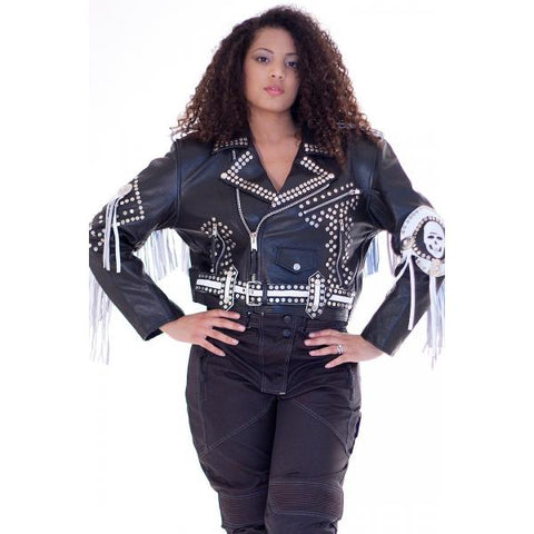 Devil Fringe Studded version of cropped biker Leather jacket 116