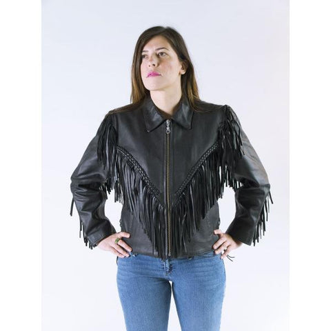 Fringes  Western biker Style Cowhide Leather Jacket Mandy 121