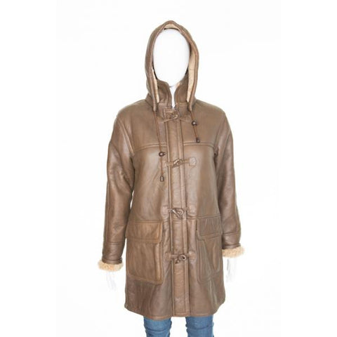 Double face sheepskin knee length coat with detachable hood Duffle Coat Polar