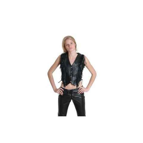 Ladies Side Lace&Frings Leather Vest Rodeo  214