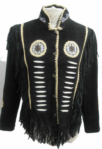 Indian Western Fringe Beaded  Leather Jacket - Totem 145