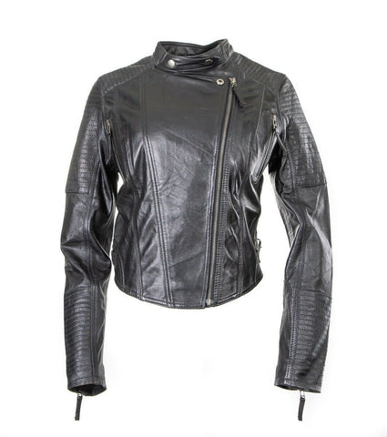Classic Womens Fahion Biker Leather Jacket (S004)