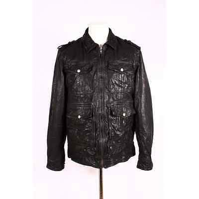 Real Sheep Vegetable Leather Jacket with 4 Front Pockets3002