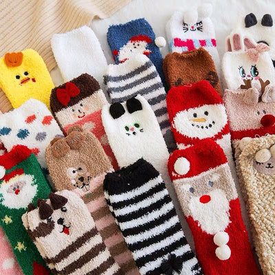 Christmas socks embroidery three-dimensional household coral velvet cartoon socks