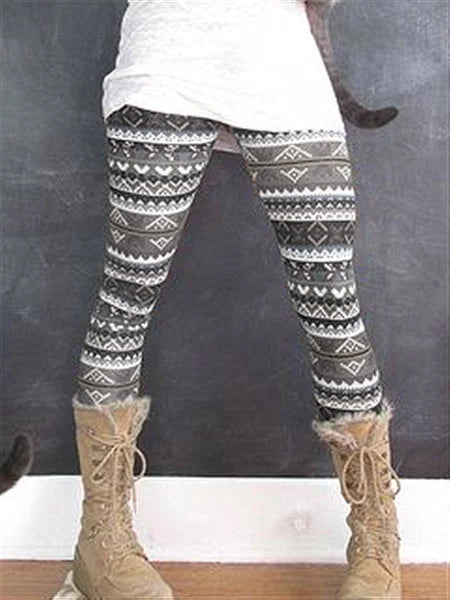 Autumn Winter Casual Vintage Printed Pants