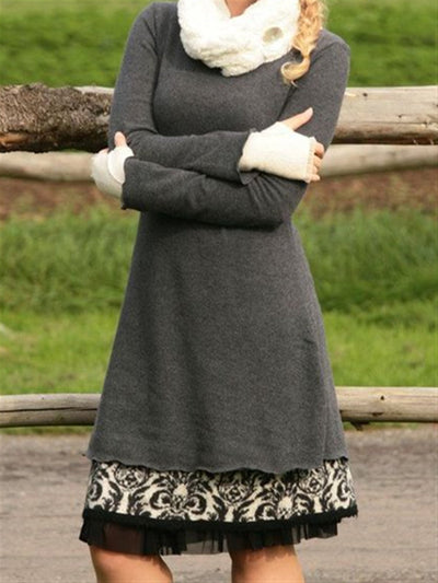 Autumn Winter Casual Vintage Plus Size Dress